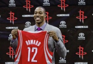 Newly signed Houston Rockets player Dwight Howard during news conference in Houston